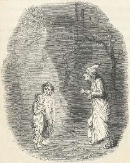 Look out, Scooge! They might be witches! (from Dicken's A Christmas Carol, 1843, via wikisource)