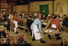 Bruegel's Peasant Wedding: beer and broth all round! (via wikimedia commons)
