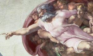 Michaelangelo's God as shown creating Adam on the ceiling of the Sistine Chapel