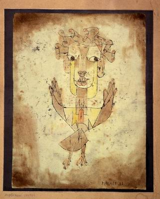 Paul Klee, Angelus Novus (1920), Oil transfer and watercolor.