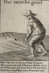 Nine-pin bowler in the 1630s