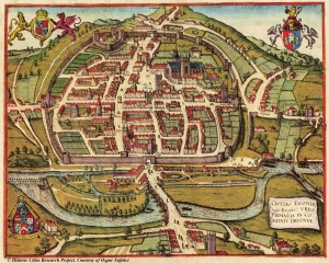 Engraving of Exeter by Hogenberg, 1587.