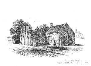 W. Spreat lithograph from 1850 showing the Dennis almshouses before they were replaced.