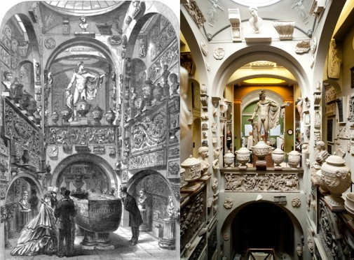Soane's Museum interior 1864 and 2014.