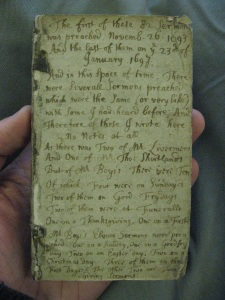 The first page in Bufton's pocket-sized book of notes on 82 sermons