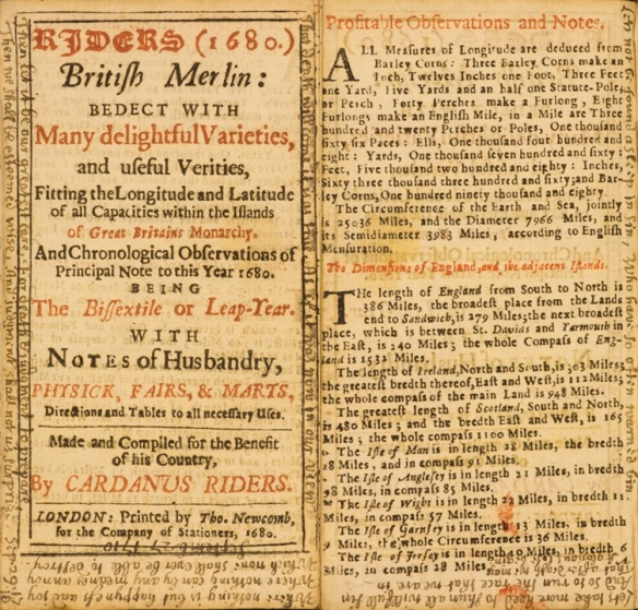 One of Bufton's almanacs, including a scrawl of notes in every available margin.