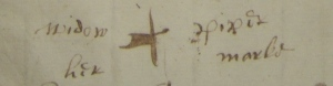 Widow Piper, 'her marke'. The blotchy cross may indicate a lack of inexperience with the quill