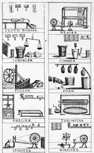 Various cloth and wool trades, including fuller and comber, from 'England's Great Joy and Gratitude' (c.1700).
