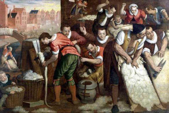 Isaac van Swanenburg's 'The Removal of the Wool from the Skins and the Combing' (1595)