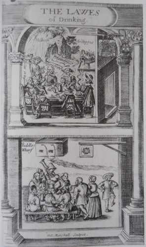 Frontispiece from a 1617 pamphlet, contrasting the upmarket tavern and the humble alehouse