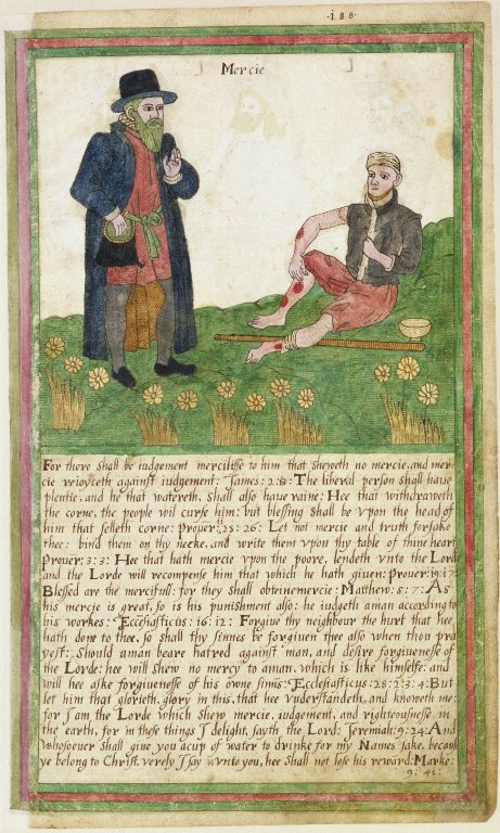 beggar and rich man Trevelyon Miscellany of 1608, Folger Shakespeare Library, fol 188r