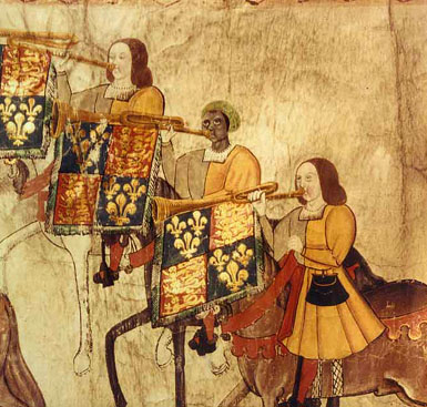 John Blanke Black Trumpeter (detail from1511 Westminster Tournament Roll)