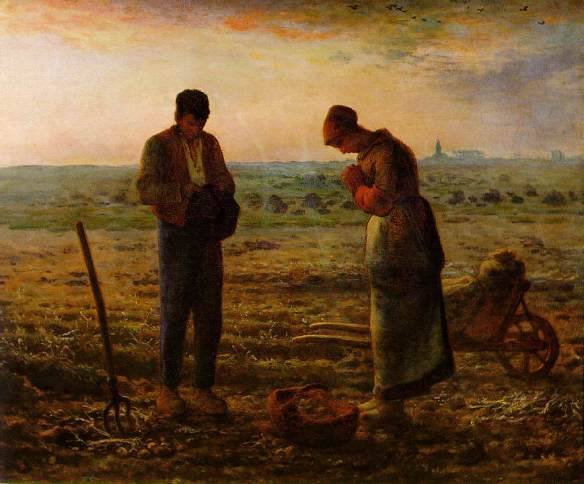 Two  rural workers bow their heads in silence as the church bells ring in this painting by Jean-François Millet. But what does their silence mean? Are they praying for the potato harvest, or, as Salvador Dali maintained, praying over the grave of their dead child?