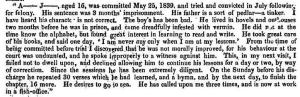 Sarah Martin's notes on Abraham Jenkins, following his first imprisonment, from the Fifth Report of the Prison Inspectors (1840), p. 129.