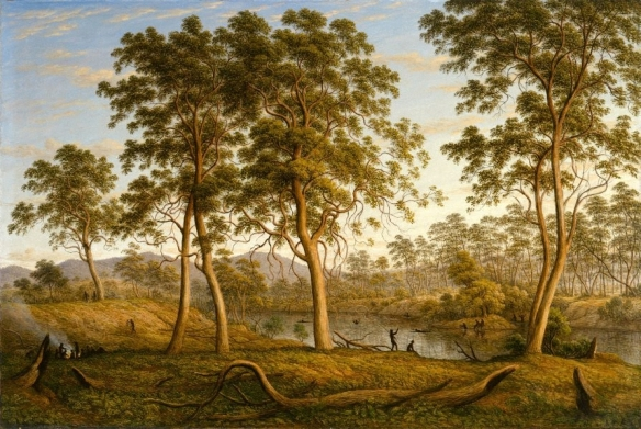 John Glover, 'Natives on the River Ouse, Van Diemen's Land', 1838 (near Hamilton), Copyright Art Gallery New South Wales