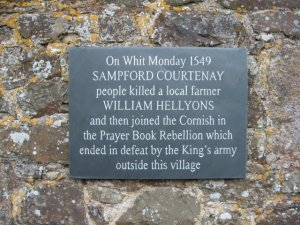 Plaque at Sampford Courtenay, courtesy of John Palmer