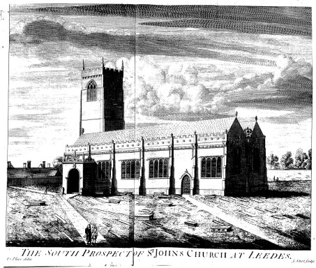 St John the Evangelist, Leeds. The engraving appeared in Ralph Thoresby's 'Ducatus Leodiensis' (1715).