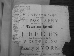 Manuscript and print: Ralph Thoresby used this proof page from his history of Leeds to take notes