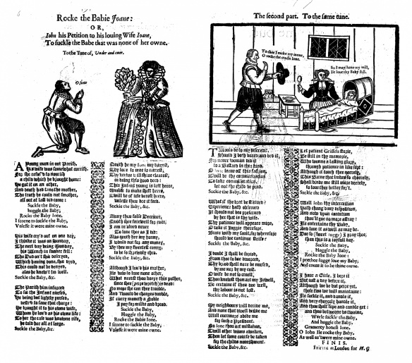 A satirical ballad 'petition' from a husband to his wife to care for his bastard.