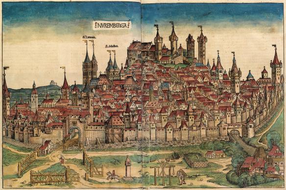 Nuremberg. Michael Wohlgemut & Wilhelm Pleydenwurff, View of Nuremberg, in Hartmann Schedel, Weltchronik. (Nuremberg Chronicle), Nuremberg. Anton Koberger, 1493 (Wikipedia Commons)