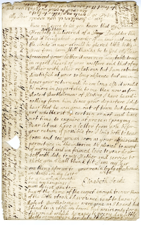 AM Letter from Elizabeth to Samuel Feb 1686 FRE