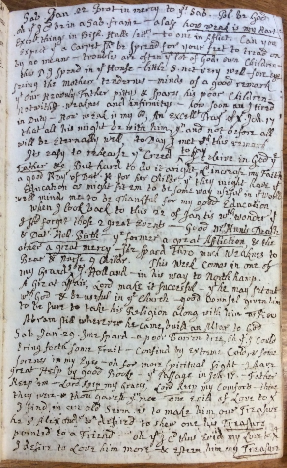 Sarah Savage; Dr. Williams_s Henry MSS 90 (2), the Savage diary from 1743-1748 which, entry for 22 January 1744